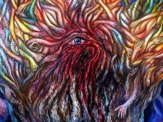 """""""Ничего не бойся"""". Картина кровью Юлии Амаги. Масло, холст, кровь."""