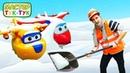 Видео про машинки - Тук Тук шоу и Суперкрылья Джет собирают Снегоуборочную машинку