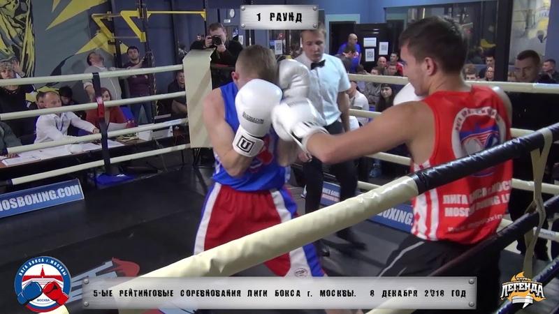 5-е рейтинговые бои Лига бокса г. Москвы – 8.12.18 г. до 69 кг.