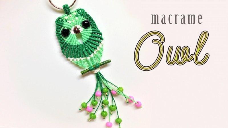 Macrame tutorial - the simple owl on the tree keychain - Hướng dẫn thắt dây hình con cú làm móc khóa