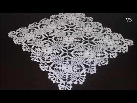 Венеция Салфетка из квадратных мотивов крючком Квадратная салфетка