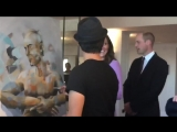 Funny moment today as William and Kate join artist Dario Vargas