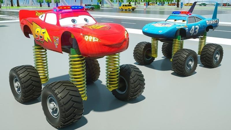 Los vehículos cambian las ruedas viejas a las ruedas de muelles, aprenden los colores con los autos