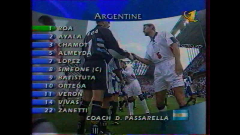 Мировой футбол на ОРТ. Лучшие матчи Чемпионата Мира 1998 года. Сборная Аргентины — Сборная Англии (ОРТ, 17.07.1999)