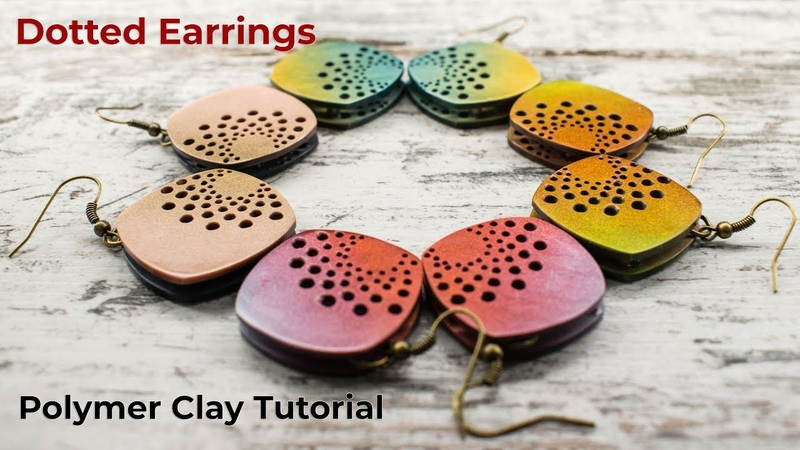 Dotted Earrings - Polymer Clay Tutorial - Full process