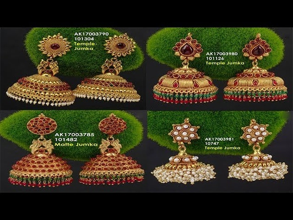 New Designer 1 Gm Gold Jhumka Designs