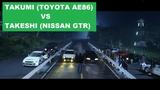 Takumi (Toyota AE86) vs Takeshi (Nissan GTR) - Initial D Movie Scene