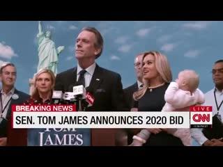 TOM JAMES announces campaign for POTUS. Hugh Laurie - Veep 7х01