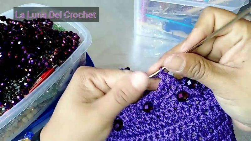 Bolso Tejido a Crochet En Punto Espiral Con Perlas/LA LUNA DEL CROCHET