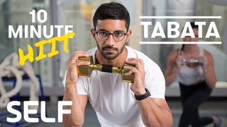 Intense 10 Minute Tabata HIIT Dumbbell Full Body Workout - With Warm-Up & Cool-Down | SELF