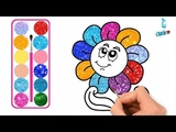 Flower Cartoon Drawing and Coloring with Glitters, Glitters Flower Cartoon coloring pages
