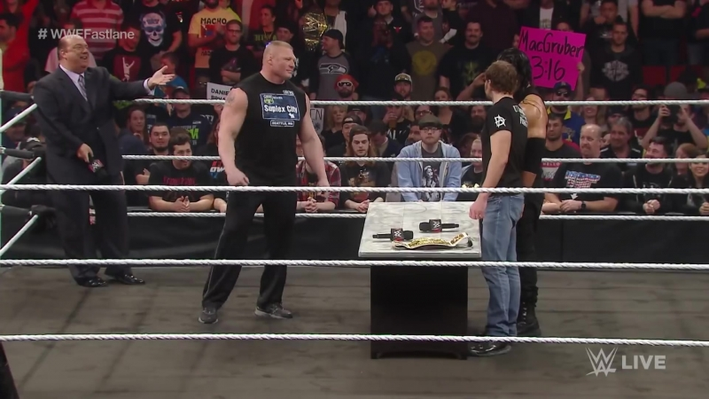 Dean Ambrose confronts Brock Lesnar during their WWE Fastlane contract signing Raw, Feb. 8, 2016