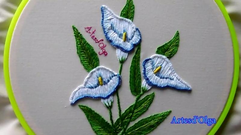 Hand Embroidery Calla Lily Flower | Bordados a mano Flor de Cala | ArtesdOlga