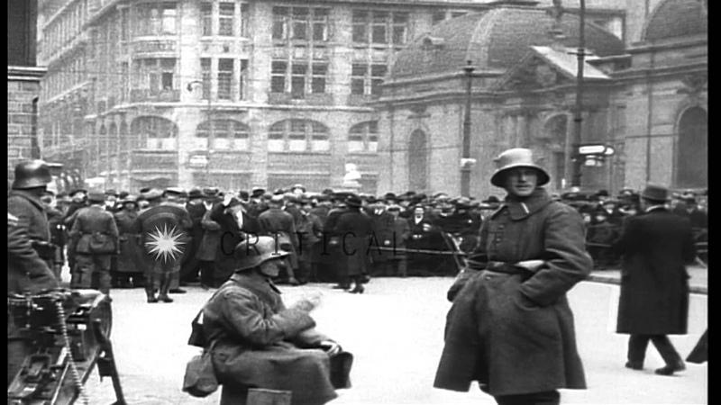 General strike in Germany during Kapp Putsch; Freikorps troops distribute propagan. HD Stock Footage