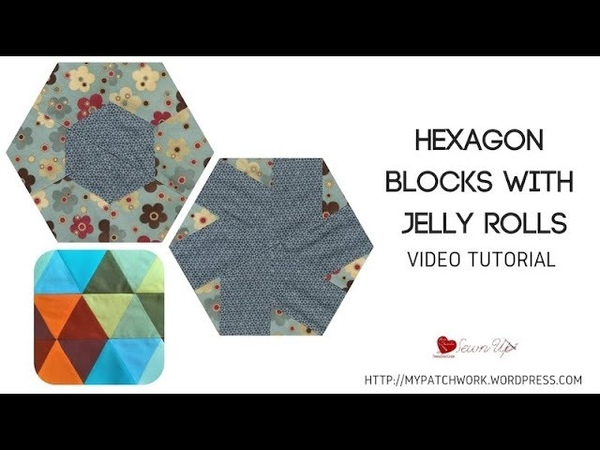 Hexagon quilt block with jelly rolls and sewing the blocks together