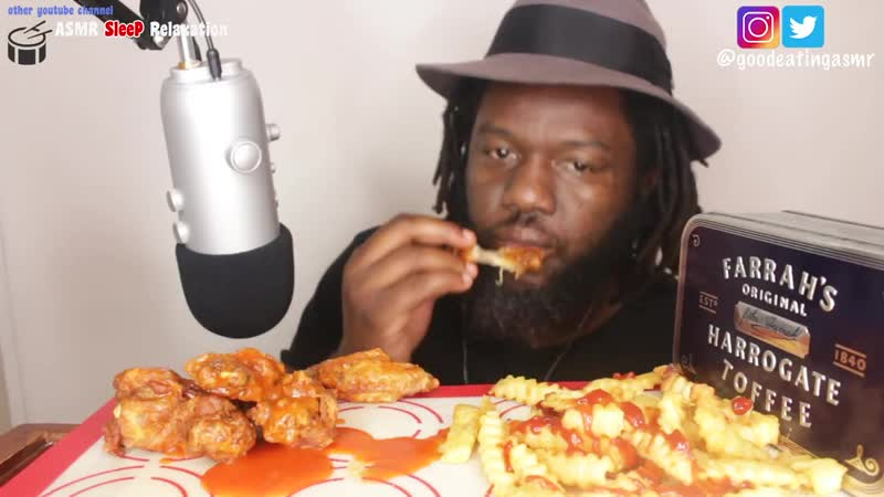 [Good Eating ASMR] ASMR: Eating Volcano Spicy Hot Fried Chicken Wings *No Talking* Eating Sounds