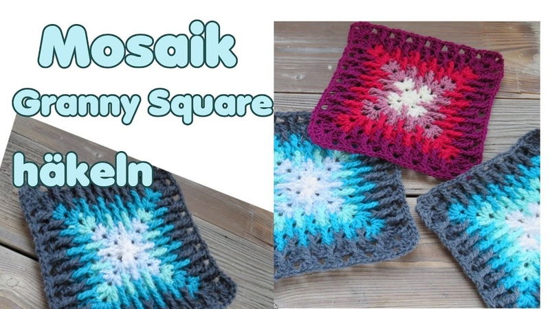Mosaik Granny Squares häkeln Anleitung (Decke, Kissen, etc)