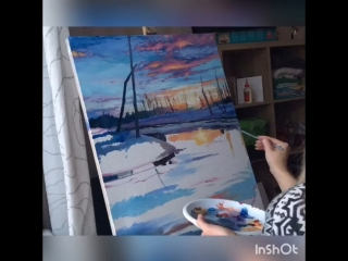 Пейзаж масляными красками. Художник Зарубина Елизавета