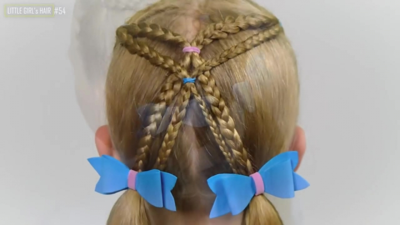 SIMPLE hairstyle with braids and elastics. Quick and Easy hairstyle for girls 54