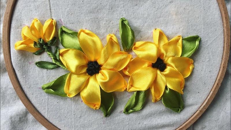 D.I.Y Ribbon Embroidery Sunflower Hướng dẫn thêu ruy băng cơ bản bài 2