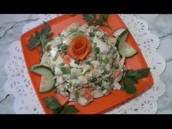 Загадочный салат с варёной рыбой