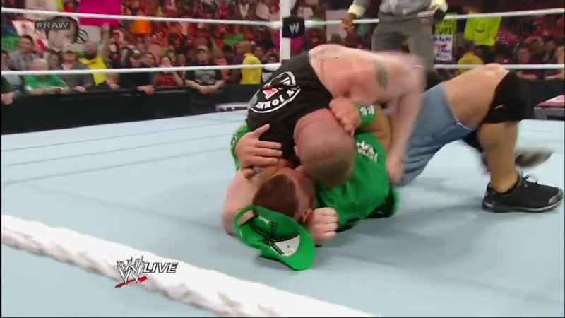 John Cena and Brock Lesnar get into a brawl that clears the entire locker room Raw April 9 2012