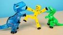 Стикбот Динозавр укусил Стикбота Человечка! Стикботы Динозавры - новинка! alex boyko