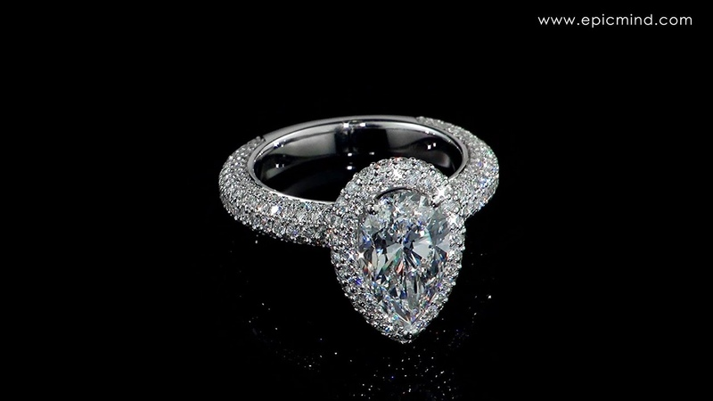 Luxurious Pear Diamond Engagement Ring with Pave Stones