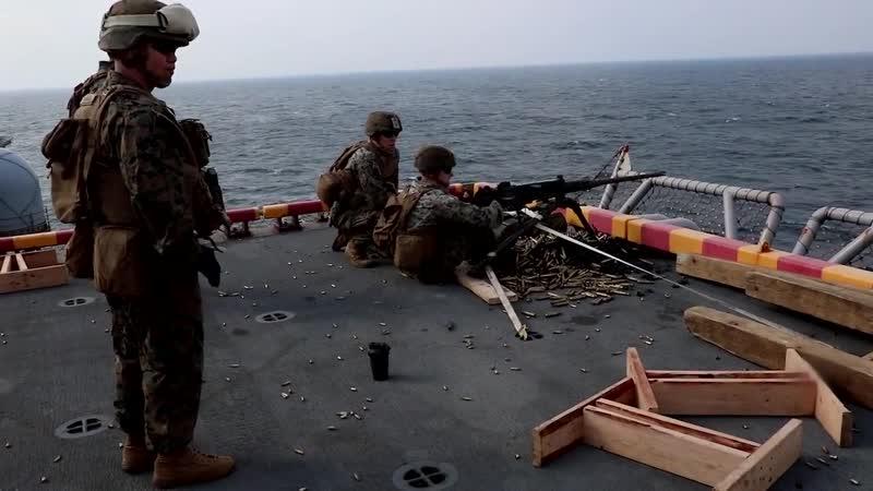 Weapons Company Marines fire machine guns aboard the Wasp (B-Roll) EAST CHINA SEA 17.10.2018