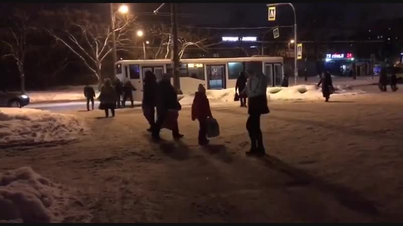 Петербуржцы помогли вытолкнуть автобус из снега [2]