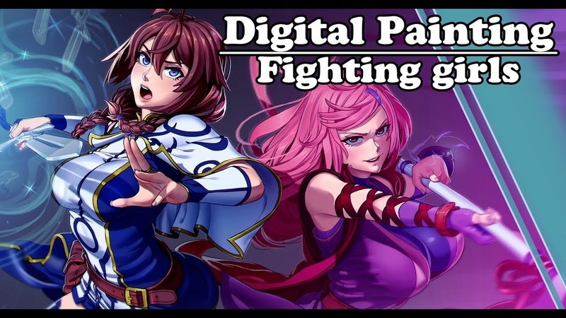 Digital Painting - Fighting girls