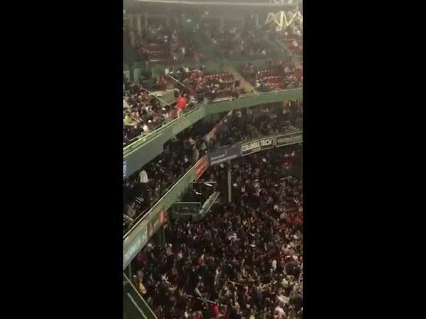 Video Fans at Fenway take down re-election banner for current US president, unfurled before...