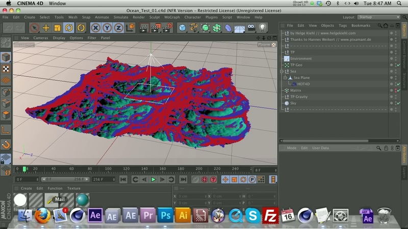C4D Tutorial How to make an Ocean, Waves or Water