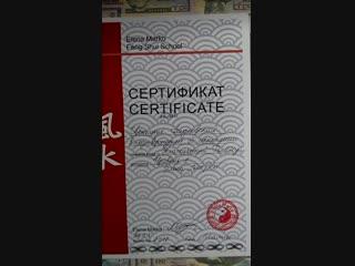 """Сертификаты за пройденные курсы """"Ба Цзы -ТОП"""" и """"Классический Фен Шуй"""""""