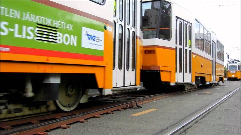 Kúszóváltó a Krisztina körúton - Trams on temporary switch in Budapest - Straßenbahn