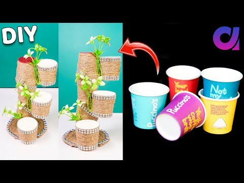 How to reuse Disposal coffee cup, jute cd | Best out of waste | Home Decor | Artkala 505