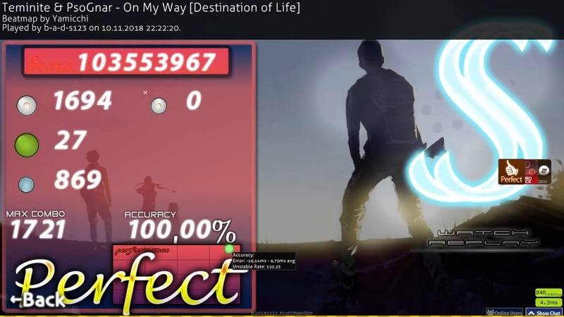 Osu!catch | b-a-d-s123 | Teminite PsoGnar - On My Way [Destination of Life] HD,HR,PF SS 1 485pp