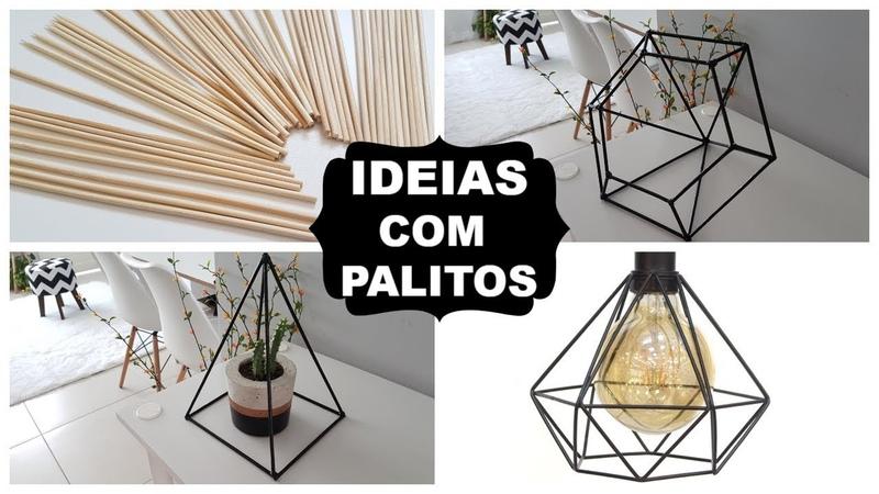 DIY DECOR| 4 IDEIAS COM PALITOS DE CHURRASCO | Viviane Magalhães