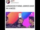 Jungkook fixing jimin's hair at MMA 2018