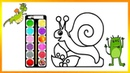 Drawing Alphabet Snail-Vase- Rabbit Coloring Book | Kids Learn Painting Colors Pages Video218