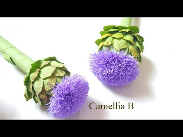 Crepe paper flower, How to make Paper Artichoke flowers from crepe paper - Hoa atiso giấy nhún