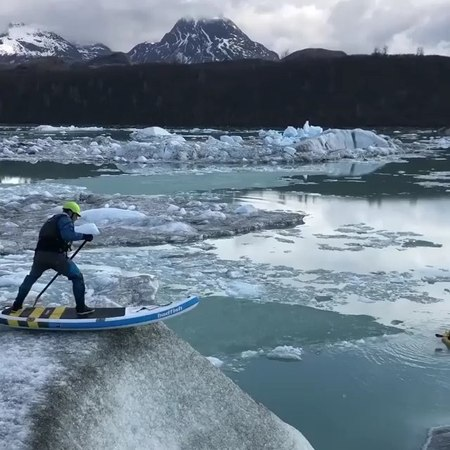 """S N O W B U M S ™ on Instagram: """"@spencerlacy is taking paddle boarding to a whole new level! paddleboarding snow iceberg sent"""""""