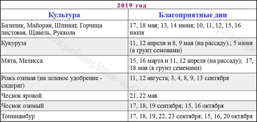 Благоприятные дни для посадки семян в 2019 году