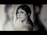 Александра Даддарио портрет карандашом (Alexandra Daddario drawing portrait)