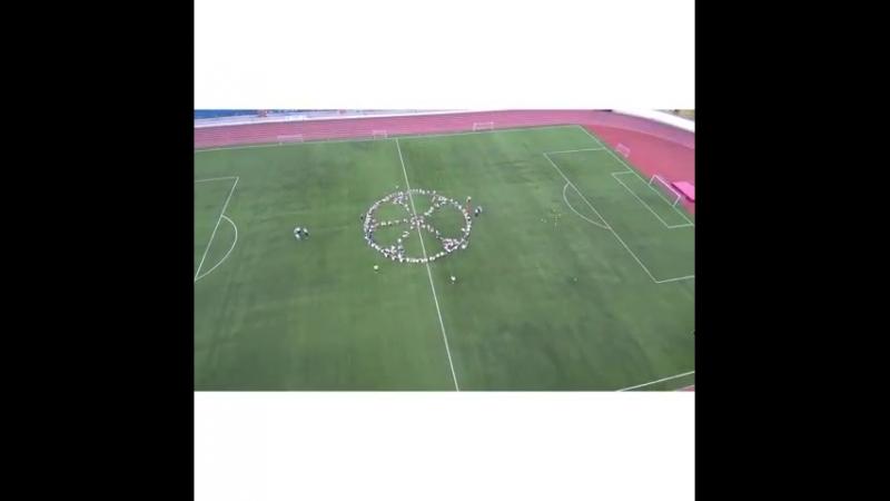 Рязанцы выстроились в огромный мяч в поддержку сборной России по футболу на ЧМ-2018. Акцию провели 19 июня.  Горожане провели на