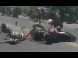 Motorcycle Appears From Nowhere And Causes Crash During Bike Fun Run In Tijuana, Mexico