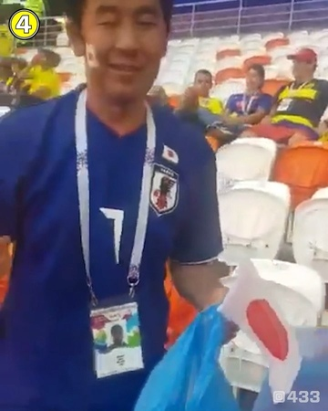 433 Football Soccer on Instagram Absolutely brilliant 🇯🇵 Japanese fans clearing up the rubbish in the 🏟 before leaving and 🇨🇴 fans congratul
