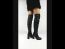 Код 3856 Высокие демисезонные ботфорты на устойчивом каблуке