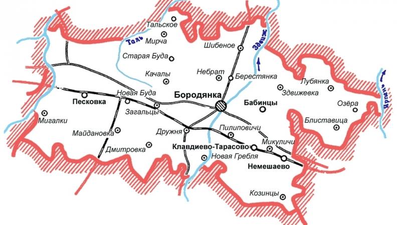 Карта Бородянский район, Киевская область, Украина