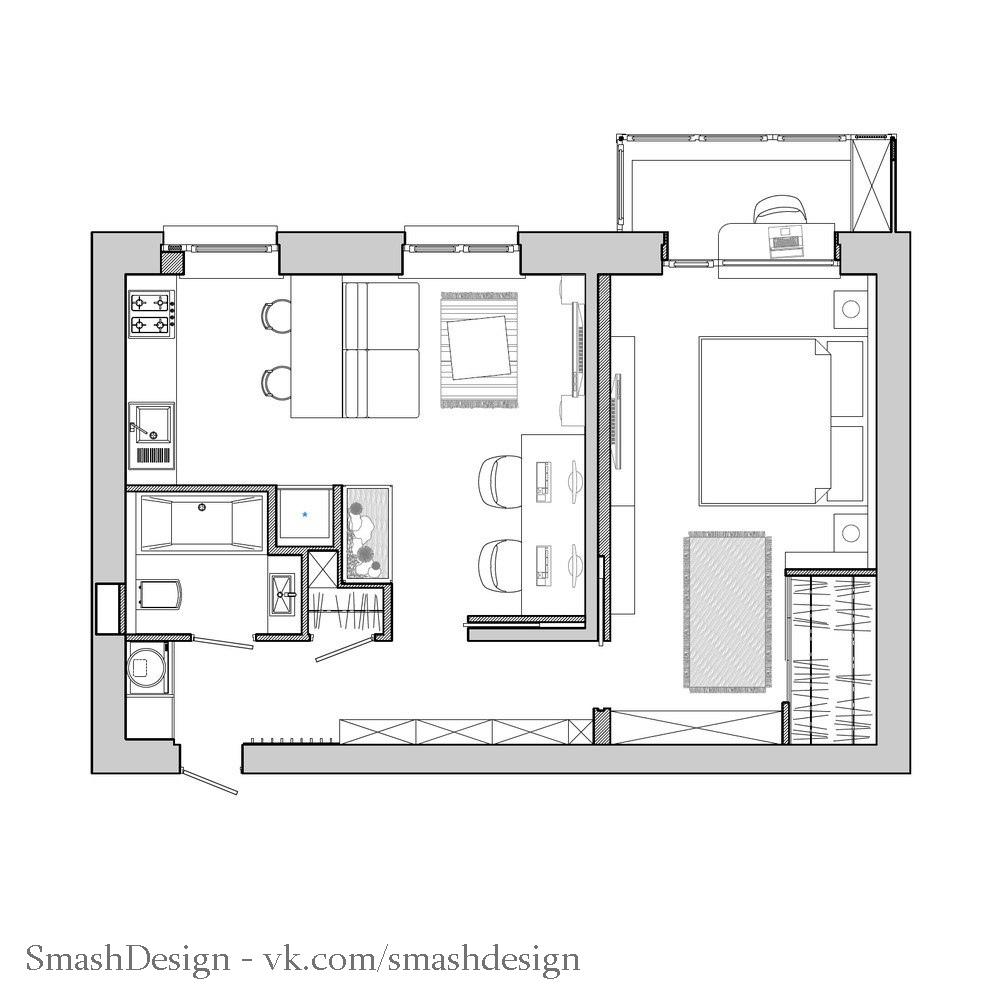 Проект двухкомнатной квартиры площадью 48 кв.
